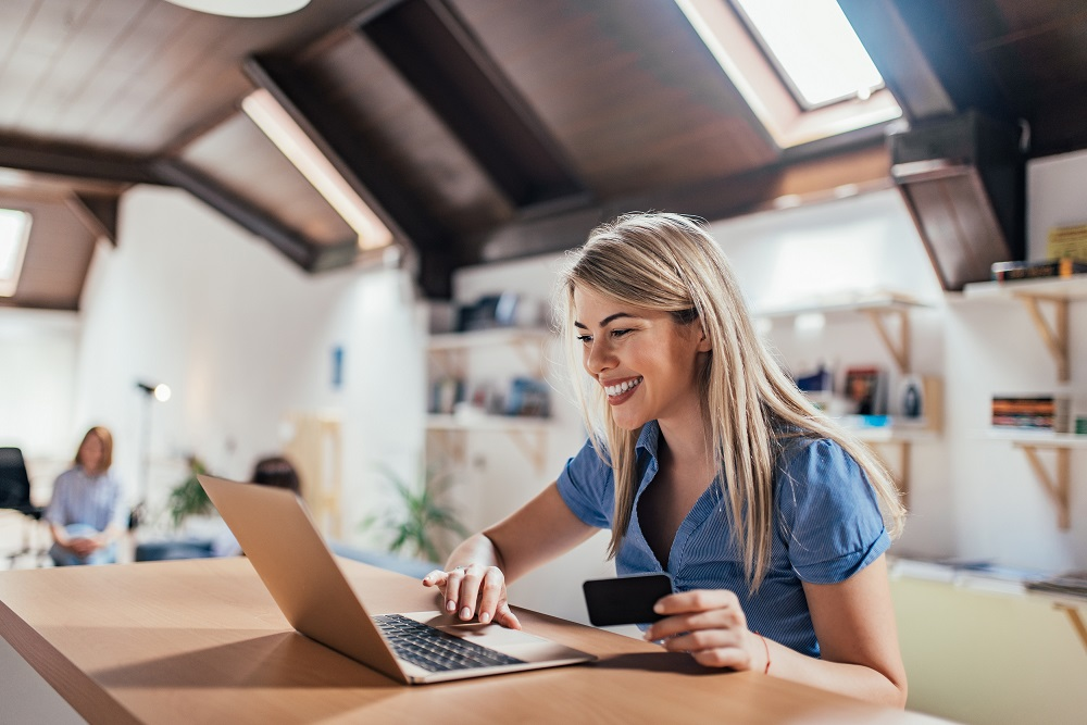 Woman Looking at Benefits Online